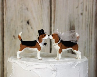 Beagle Wedding Cake Topper, Dog Cake Topper, Grooms  Cake, Mans Best Friend Cake Topper, Animal Cake Topper