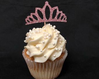Tiara Glitter Cupcake Toppers