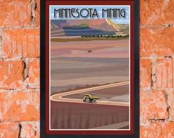 Art Deco Vintage-Inspired Iron Mining Poster