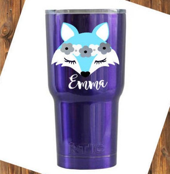 Free Shipping-Personalized Fox Decal, Yeti RTIC Cup Sticker, Girl Arctic Fox, Car Window Decal, Laptop Fox Sticker Decal, Personalized Decal