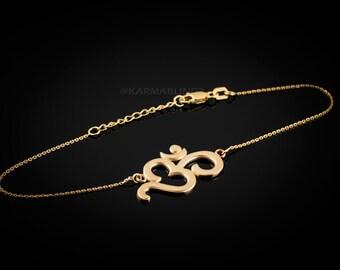 14K Gold Om Bracelet (yellow, white, rose gold)