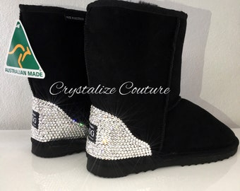Genuine Sheepskin Australian made UGG boots Medium height embellished in Swarovski crystals/ shoes / booties/ winter boots