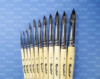 PURE SQUIRREL PROFESSIONAL Short Handle Round Brushes 1410 Serie Russian Roubloff