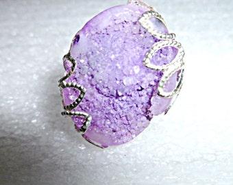 Lilac druzy ring