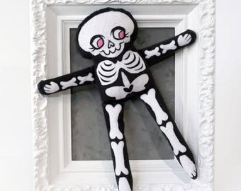 Soft Minky Skeleton Doll - Black