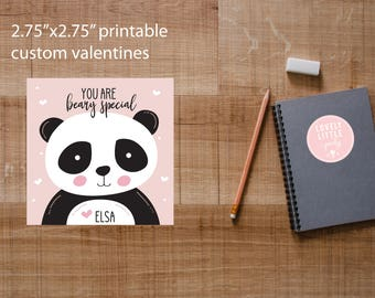 Printable Valentine Cards - Panda Bear - Lovely Little Party