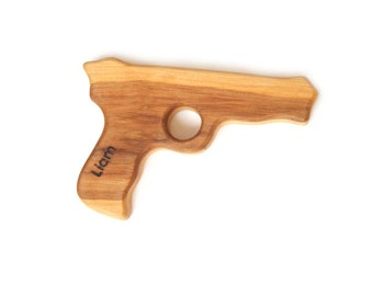 Personalized Gun toy for boy with name. Handmade ready to ship wooden gun toy with burnt name on it.