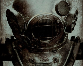 Steampunk Captain Nemo Photograph Vintage Diving Mask Sepia Muted Blue Gold Wall Art  8x10