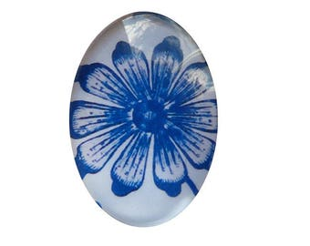 Cabochon fancy 18 x 25 mm porcelain blue and white faience 1825c564