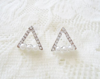 Silver Triangle Crystal & Pearl stud earring, Wedding earring
