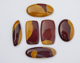 6 Pcs.lot mix  Mookaite Jasper cabochon. 101 Cts. Natural Mookaite Jasper gemstone. Charming! Mookaite gemstone. Pear Mookaite Jasper loose