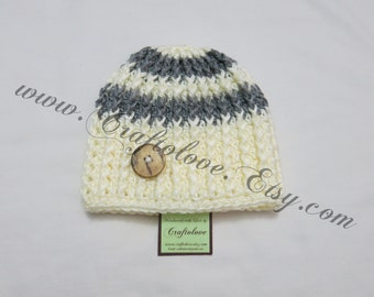 Crochet baby hat- Baby Boy Beanie - Baby Boy Hat - Grey/Off-white Button baby boy hat- CHOOSE YOUR SIZE - Newborn Photography props
