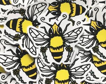 3 Honeybee Vinyl Stickers - by Moon Moppets