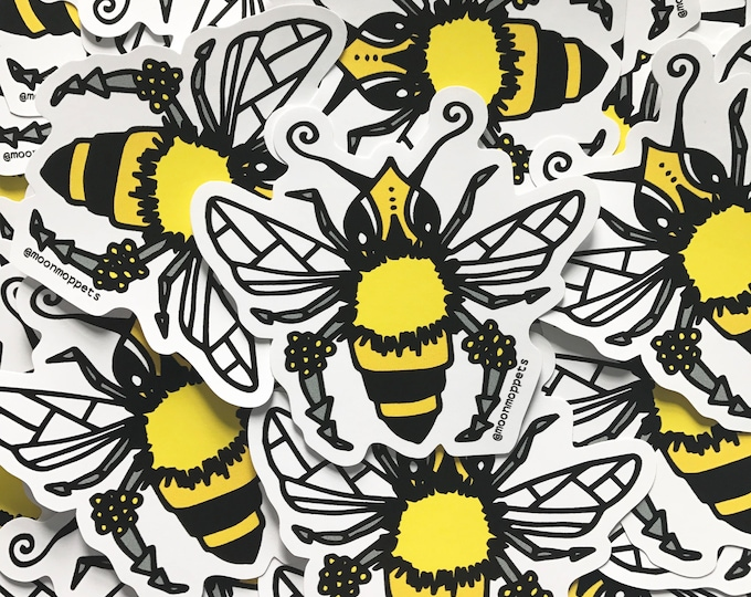 Featured listing image: 3 Honeybee Vinyl Stickers - by Moon Moppets