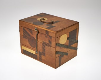 Antique 1930s Japanese concertina wooden marquetry jewellery box