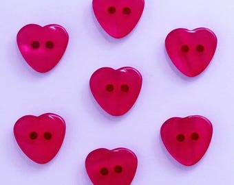 Heart 12mm set of 10 buttons: Red - 002206