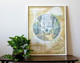 Drawing Of Conservatory | Botanical Garden | Large Sketch | Original Drawing
