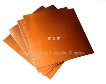 COPPER SHEET 22 Gauge 6 X 6 Inch - 1 Sheet Solid Copper For Etching, Jewelry Design, Stamping and More