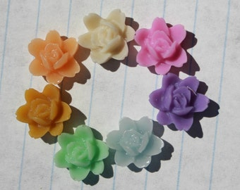 24 SMALL ORCHID Cabochons - 10mm - CHOOSE your Colors