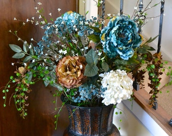 Silk Flower Arrangement, Blue Peonies, Brown Peonies, Wisteria & White Hydrangeas, Luxury Flowers