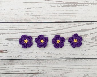 crochet flowers | crochet applique | flower motif | purple flower embellishment | mini crochet flowers