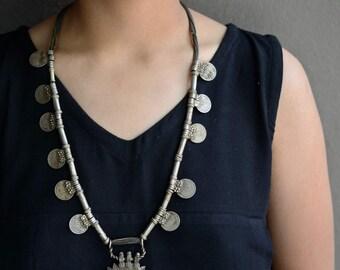 Epic tribal necklace old Banjara gypsy Indian ethnic mandala etched pendant amulet with coins Rajasthan Kuchi rustic ethnic pipe beads