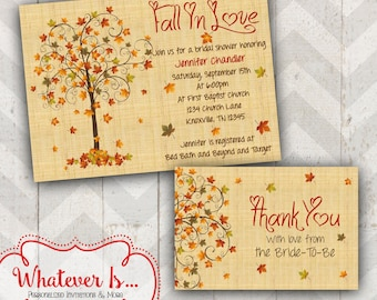 Fall in love bridal shower invitation fall bridal shower fall in love bridal shower invitation with thank you card filmwisefo