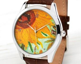 Sunflowers Art Watch | Van Gogh Watch | Art Teacher Gift | Gift for Her | Art Jewelry | Women's Watch | Leather Men's Watch | FREE SHIPPING