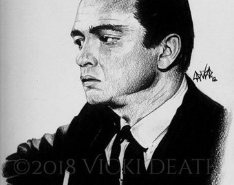 The Man In Black Original Framed Graphite Portrait