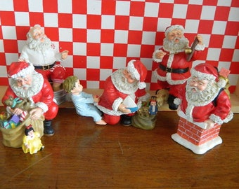 5 Santa Figurines - Hard Plastic