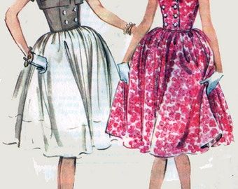 Vintage 60s MadMen Dress Double Breasted Bodice w/ Full Skirt and Bolero Sewing Pattern McCalls 5417 60s Sewing Pattern Size 16