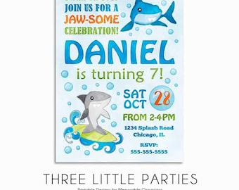 Shark Invitation, Shark Birthday Invitation, Shark Party Invitation, Shark Birthday Party, Under the Sea Invitation, Pool Party Invitation
