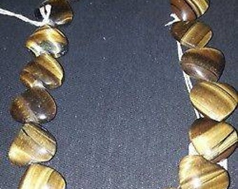 Tigar gemstones hearts on string