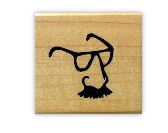Groucho Glasses mounted rubber stamp, nose, mustache, moustache, disguise, Sweet Grass Stamps No.15