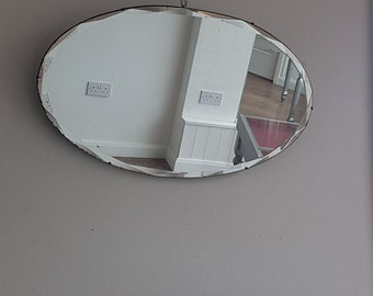 Antique Oval Mirror Intricate Bevelled Edge PIn Clips Handcrafted Quality Mirror Made Approximately  1910