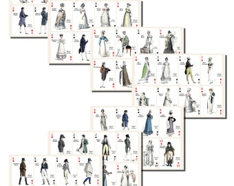 Jane Austen's Characters Playing Card Printables, PLAYING CARD SIZE,  (2.5 x 3.5 Inch  or 6.3 x 8.8 cm), 56 Total