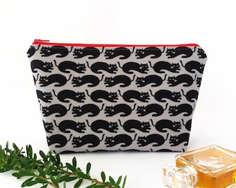 Black cat gifts, Large makeup bag, Cosmetic pouch, Craft project storage, Teenager girl gift, Charcoal or white