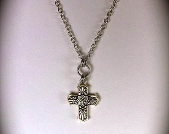 Milagros Cross Pendant  Necklace Jewelry Mens Southwestern Boho Jewelry Silver Christian Cross Necklace Fathers Day