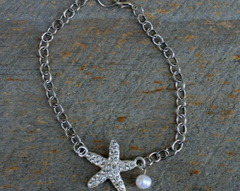 Crystal Starfish with Freshwater Pearl Anklet, Anklet Bracelets, Jewelry Bracelets, Sealife Jewelry, Starfish Jewelry