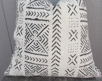 BOHO White Mudcloth Pillow cover African Mud cloth Black arrows pillow cover