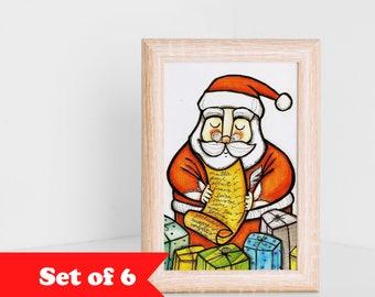 Christmas postcards, Santa Claus, set of 6 card