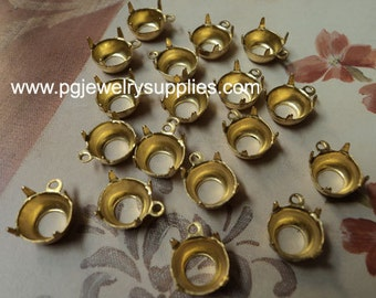 40ss stone size brass 8.5mm round open back prong pendant settings 1 loop 18 pcs