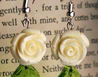 White Roses and Green Leaves Earrings