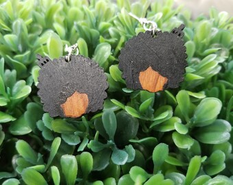 Mini Afro Girl (2 styles/4 colors)- Hand-Painted Wooden Earrings