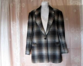 Vintage Wool Plaid Boyfriend Jacket by Camden Place