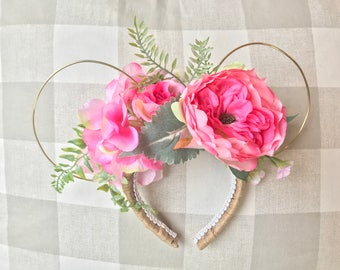 Rose and Gold Floral Mouse Ears