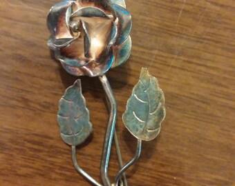 Vintage tarnished sterling silver rose lapel pin, 929 lapel pin, silver rose pin with patina, rose lapel pin, hat pin, silver hat pin,