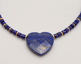 Lapis Lazuli Necklace with Gemstone Heart Pendant, Anniversary Birthday Gift for Wife or Girlfriend, Mother's Day Gift
