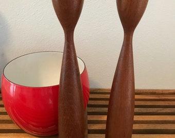 Turned Teak Candle Holder Pair - Denmark