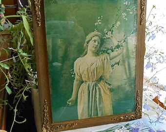 1901 APPLE BLOSSOMS Framed Litho Print Under Glass Cover, Edwardian Lady Spring Blooming Boughs Gilded Metal Corners Frame, J I Austen Co